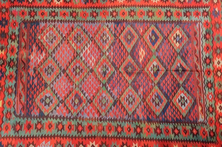 Hand-Woven Large Old Fine Turkish Kilim Sharkoy For Sale
