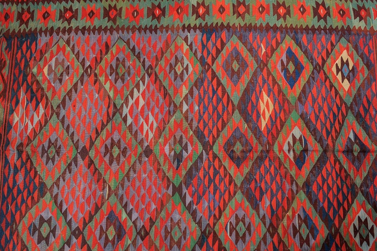 Large Old Fine Turkish Kilim Sharkoy In Excellent Condition For Sale In Alessandria, Piemonte