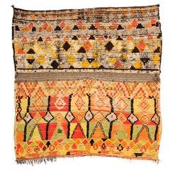 Primitive Handmade Wool Moroccan Zenaga Rug with Modern Artwork, 1960s