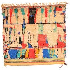 Primitive Handmade Wool Vintage Moroccan Azilal Rug with Modern Artwork, 1990s