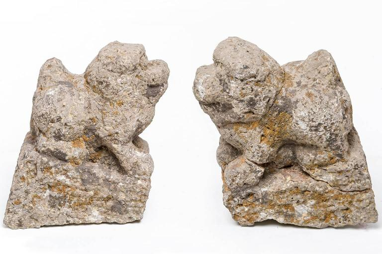 Antique pair of stone lions or Foe dogs, probably Ming Dinasty (1358-1644) - They can be placed on the terminals at the bottom of a staircase, inside or outside.  O/4017 -