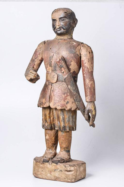 Antique Wooden Indian Warrior Statue Or Personal Guard