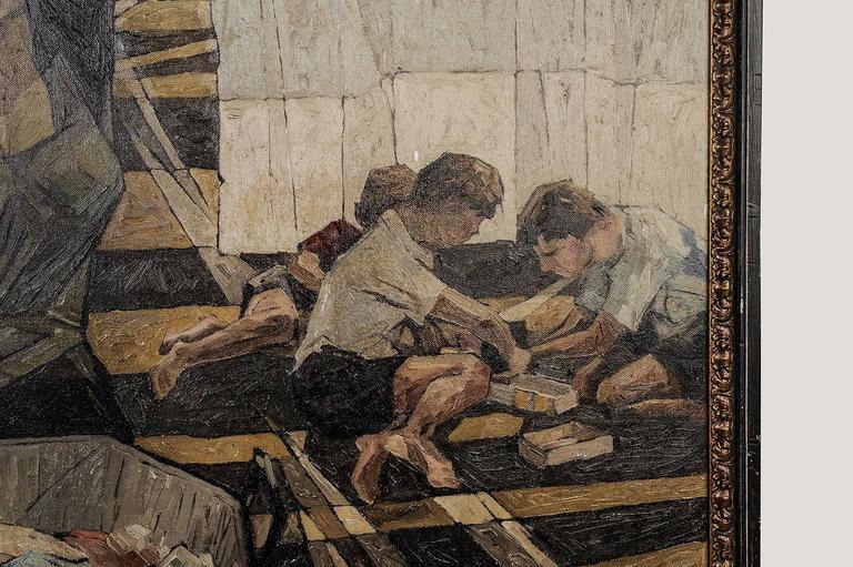 Hand-Painted Italian vintage Painting , oil on canvas,