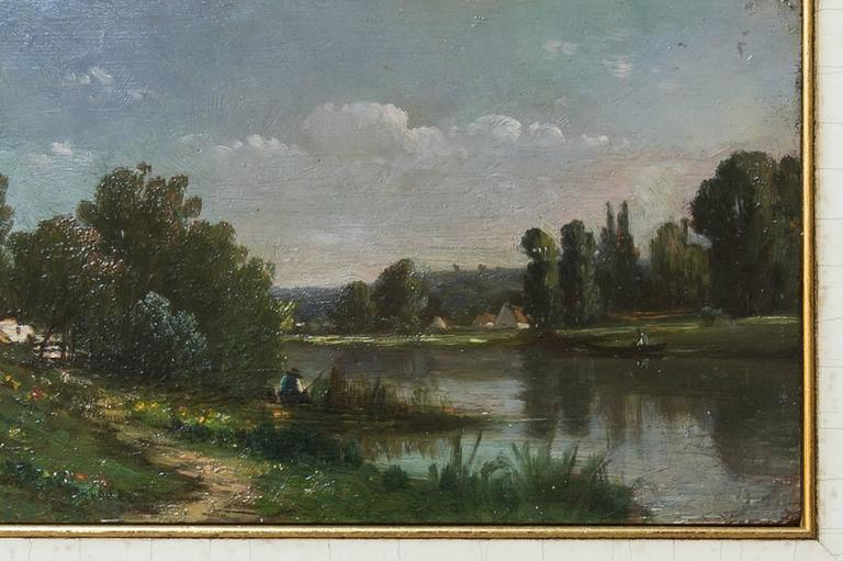 Hand-Painted Countryside Landscape Old French Painting Like a Miniature For Sale