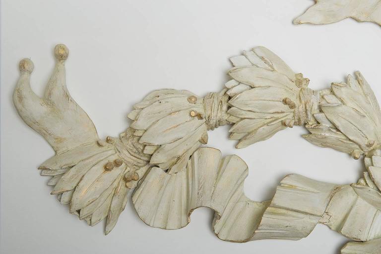 Wooden Antique Garland : Above Door or Bed or Mirror In Fair Condition In Alessandria, Piemonte