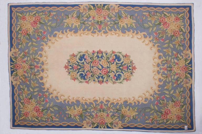 Pleasant vintage carpet with Aubusson design: unbelievable price! nr. 592 -