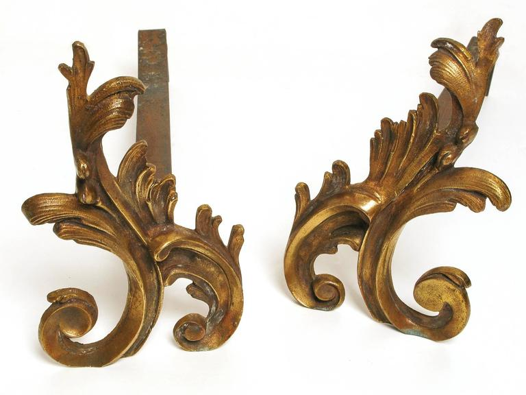 Rococo Revival French Fireplace Screen, Complete with Andirons For Sale