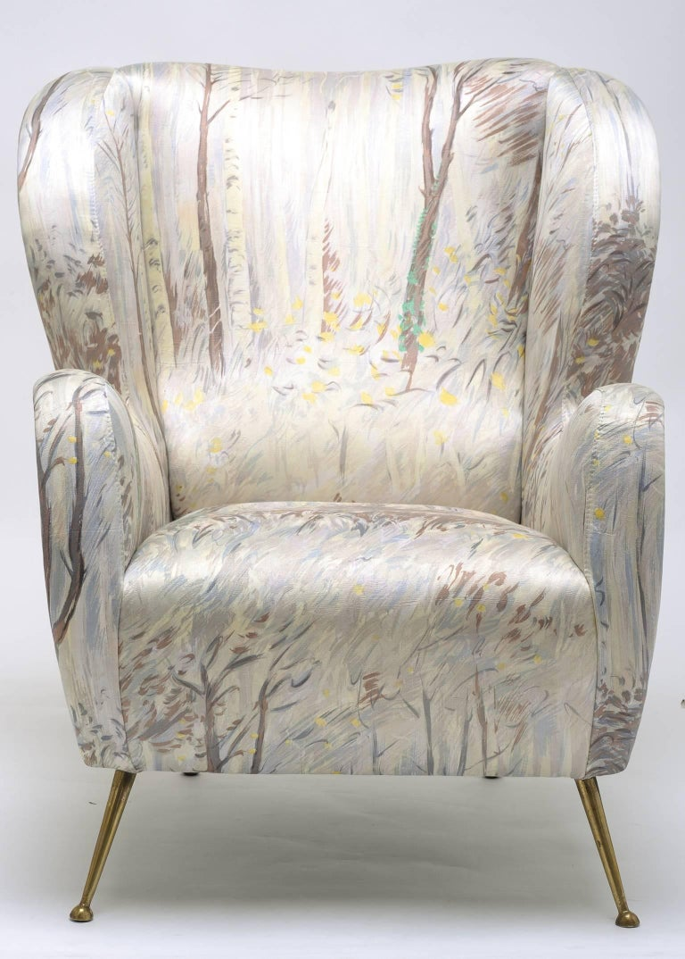 Rare Zanuso armchair, with new padding, and lined with vintage tissue; The Forest (1954) by Michele Cascella for ISA.  Single piece! nr: M/1975.