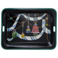 Italian Hand-Painted Metal Tray for Table or Wall