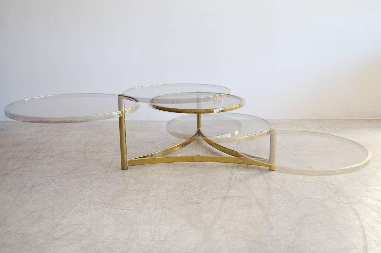 Milo baughman tri level brass and glass swivel coffee for 2 level glass coffee table