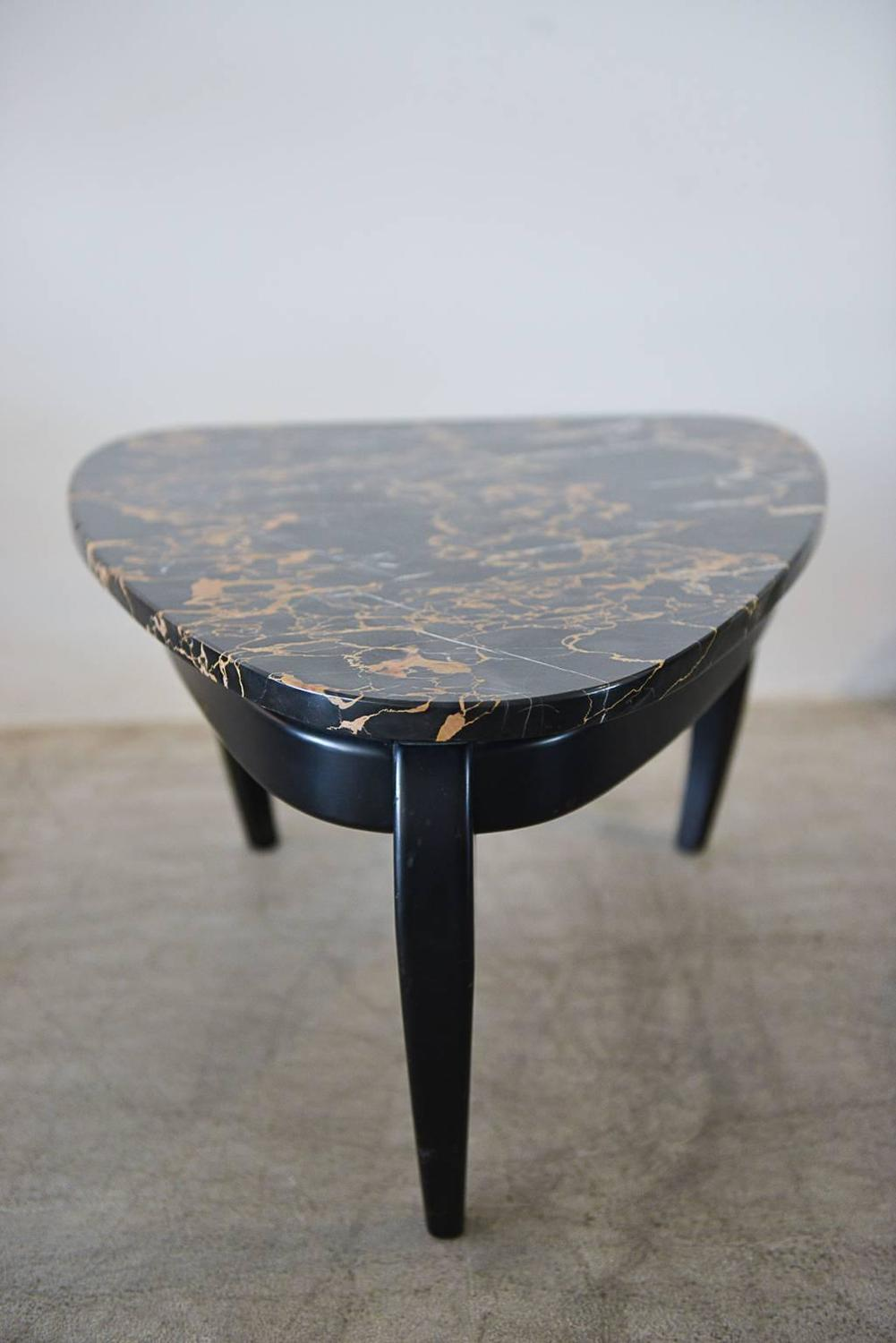 Italian black marble triangular side or accent table for