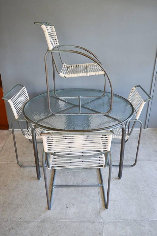 Mid-Century Modern Kipp Stewart for Terra Tubular Bronze Outdoor Dining Set