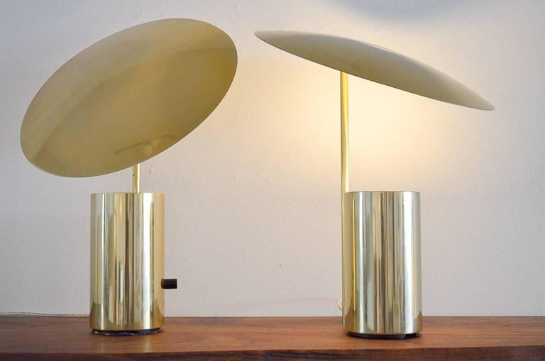 Rare Pair of Brass George Nelson 'Half-Nelson' Table Lamps at 1stdibs