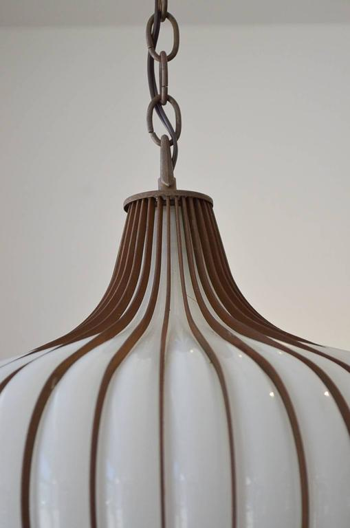 Rare And Beautiful Pair Of Handblown Glass And Metal Onion Form Pendant  Lights. Opaque Glass