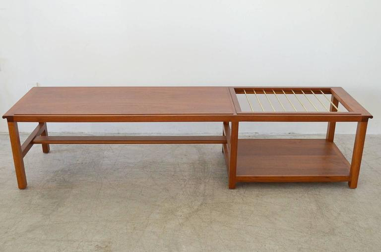 High Quality Walnut And Brass Coffee Table With Magazine Rack By Dunbar 2