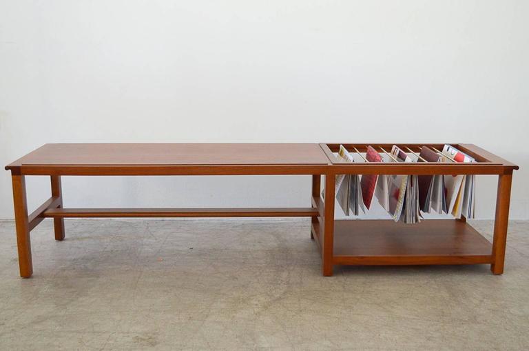 Walnut And Brass Coffee Table With Magazine Rack By Dunbar 3