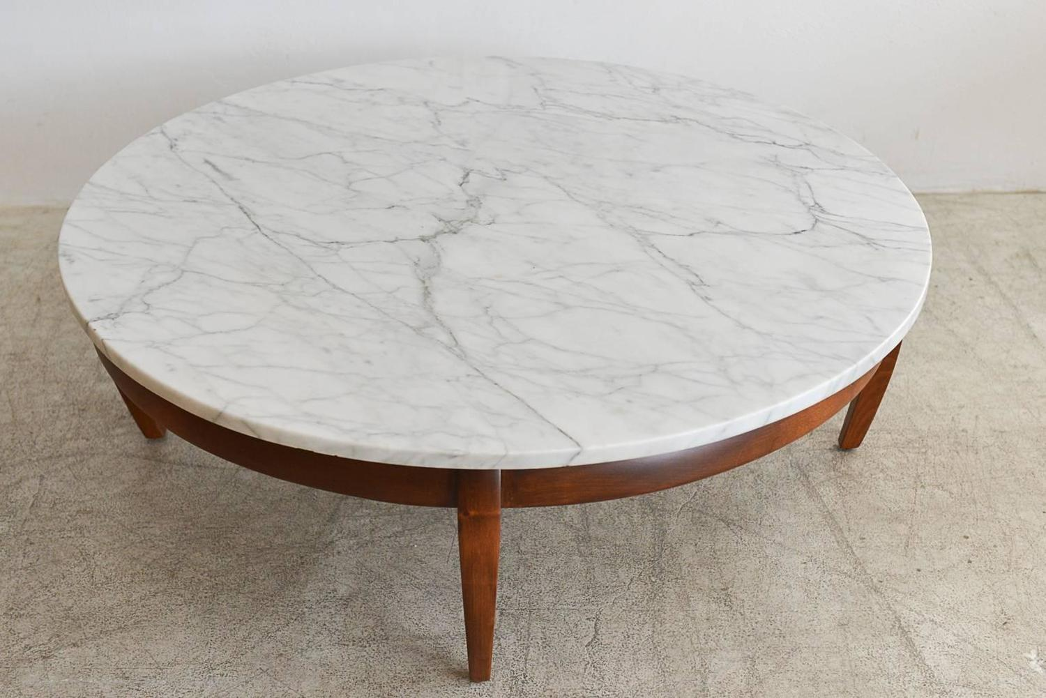 Sculpted walnut and carrara marble coffee table circa for Marble and walnut coffee table