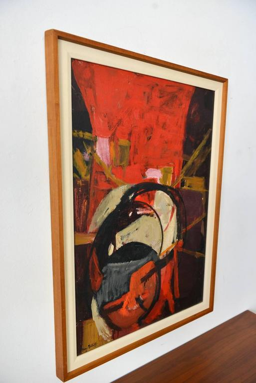 American Oil on Canvas Abstract Painting, Frances D. Madoff, circa 1960 For Sale