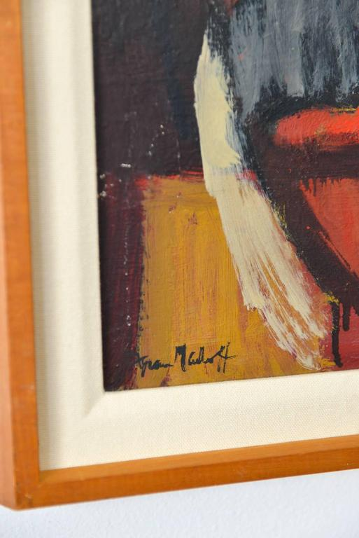 Oil on Canvas Abstract Painting, Frances D. Madoff, circa 1960 In Excellent Condition For Sale In Costa Mesa, CA