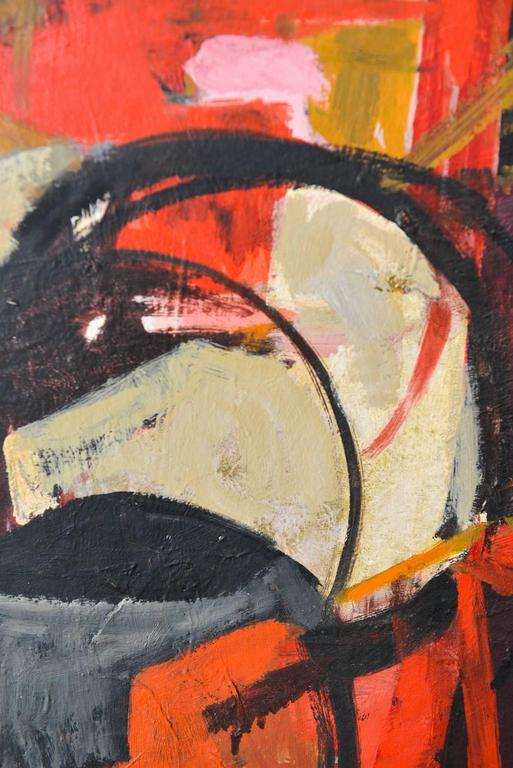 Mid-Century Modern Oil on Canvas Abstract Painting, Frances D. Madoff, circa 1960 For Sale