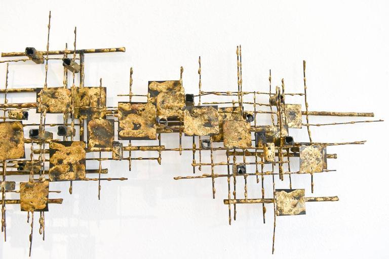 abstract brutalist metal wall sculpture by california artist cliff widdowson 3
