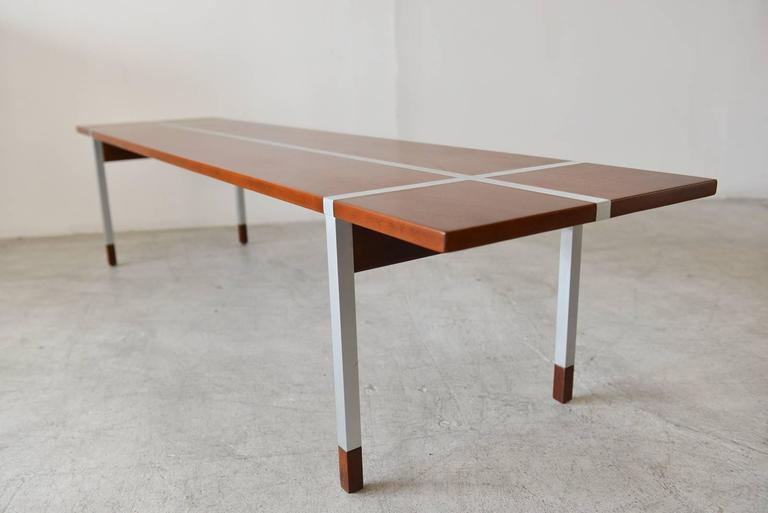 Walnut And Aluminum Coffee Table By Selig 2