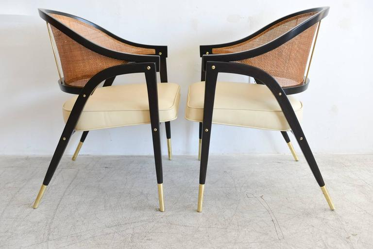Mid-Century Modern Edward Wormley for Dunbar Pair of Sculpted Armchairs, circa 1955 For Sale