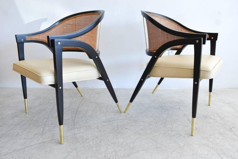 American Edward Wormley for Dunbar Pair of Sculpted Armchairs, circa 1955 For Sale