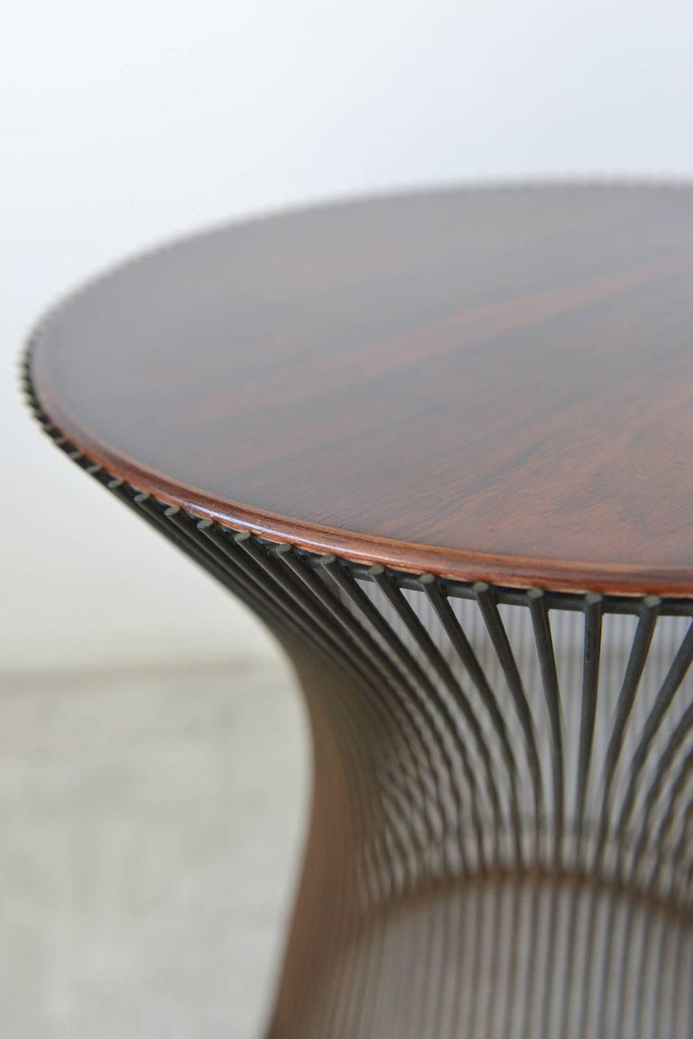 Warren Platner For Knoll Bronze And Rosewood Side Table