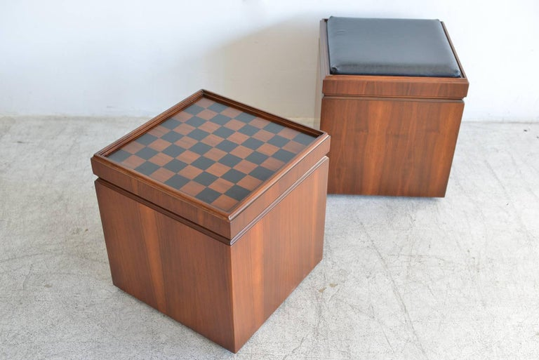 Pair Of Walnut Checkerboard Or Chess Game Cube Ottomans