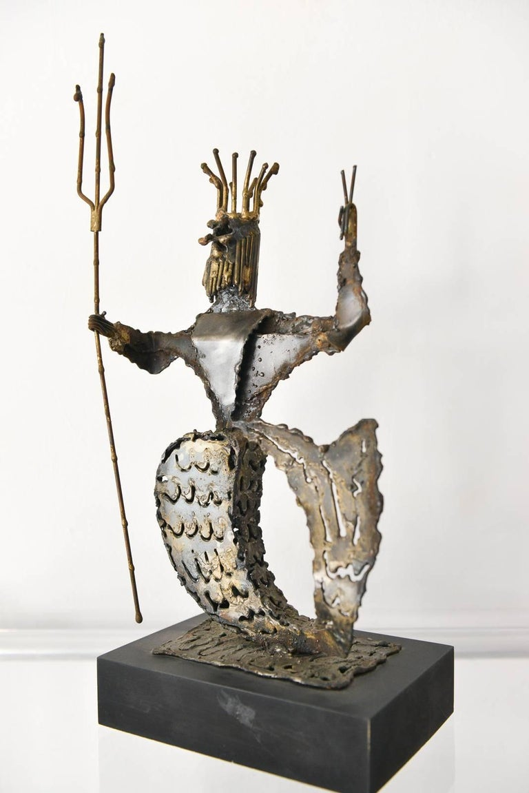Metal Neptune sculpture by California artist Jack Hanson, circa 1965. Signed on bottom, excellent vintage condition mounted on wood base.  Available to see in our Modern Vault Showroom, 361 Old Newport Blvd, Newport Beach, CA 92663  Measures