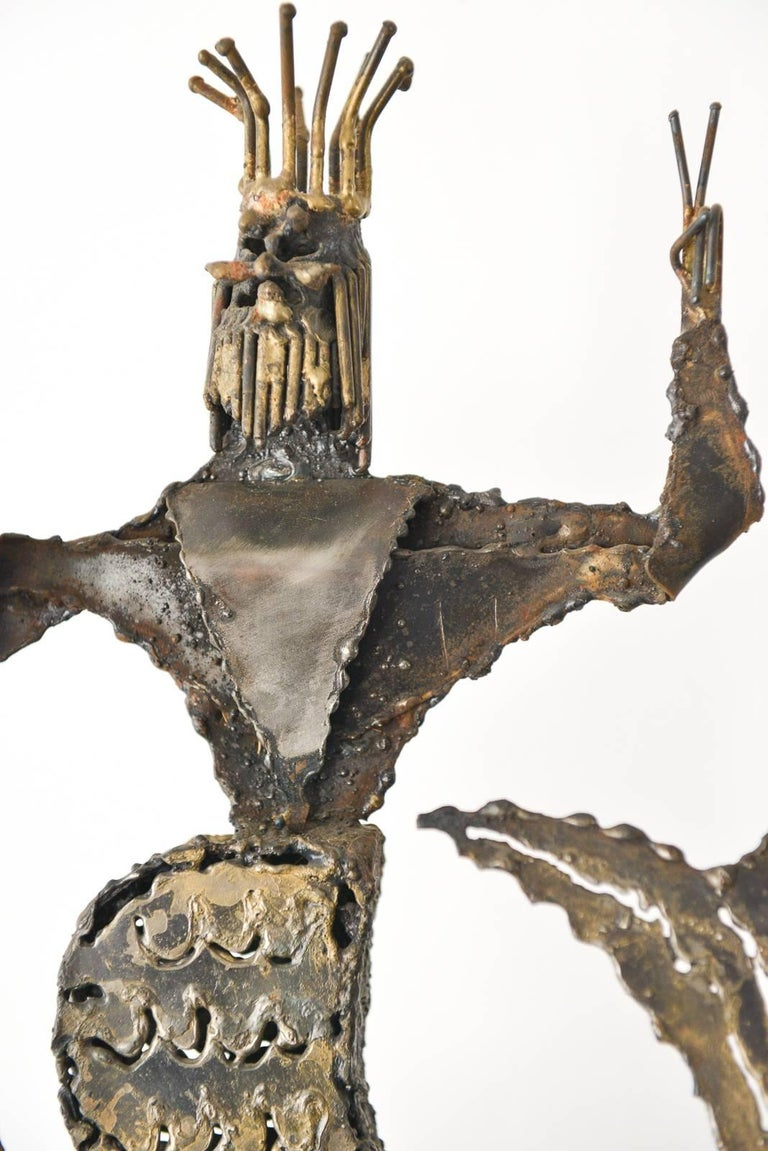 Metal Neptune Sculpture by California Artist Jack Hanson, circa 1965 In Excellent Condition For Sale In Costa Mesa, CA