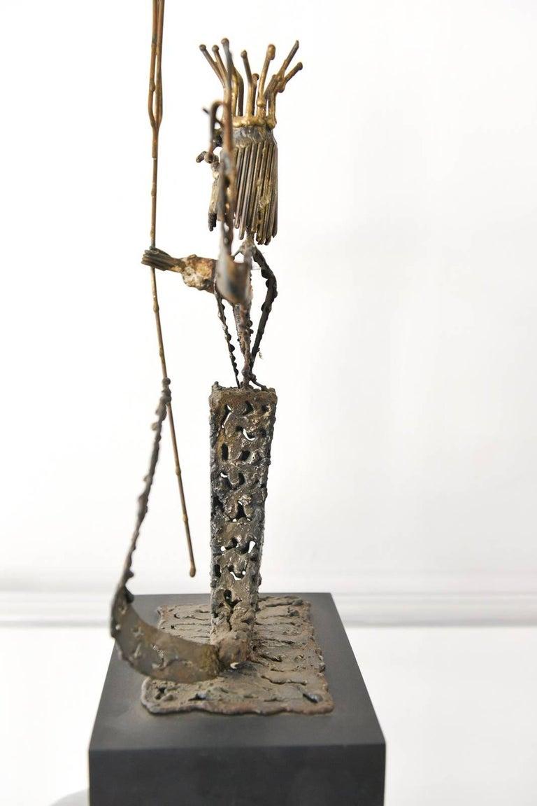Mid-Century Modern Metal Neptune Sculpture by California Artist Jack Hanson, circa 1965 For Sale