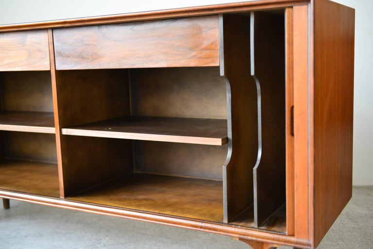 American Walnut Tambour Door Credenza by Robert Baron for Glenn of California, circa 1965 For Sale