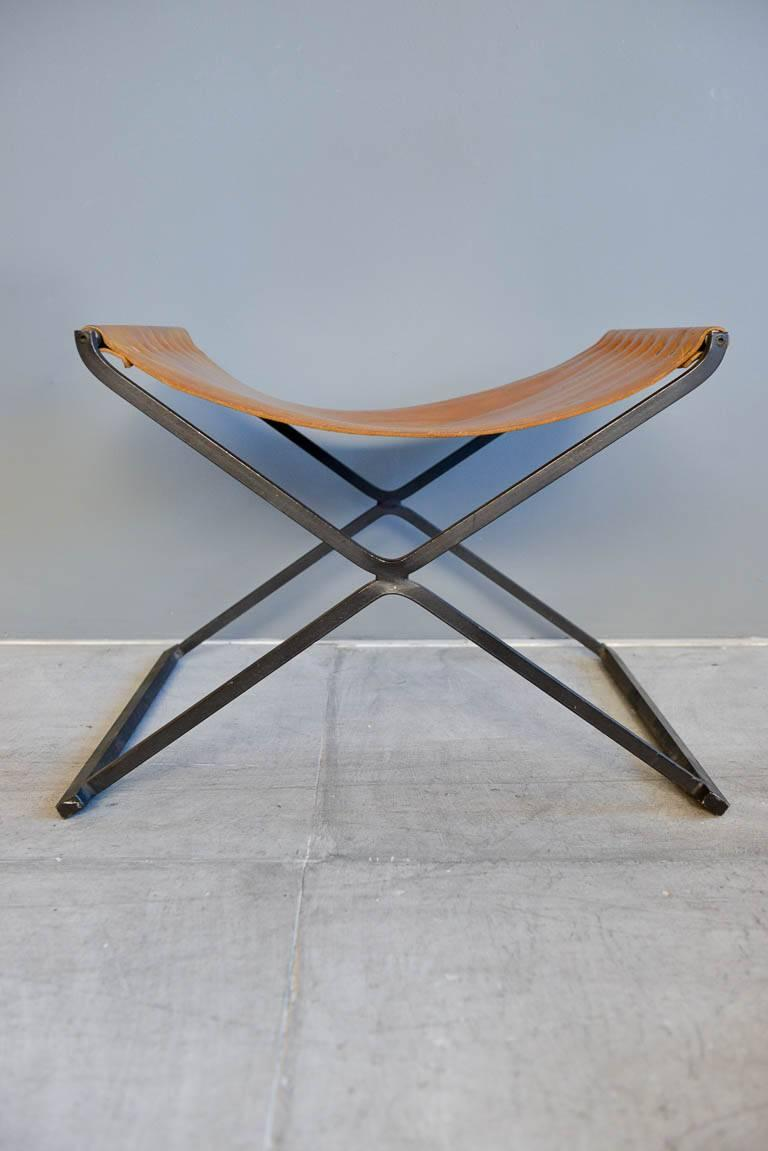 Fantastic Saddle Leather And Iron X Base Ottoman Circa 1970 At 1Stdibs Beatyapartments Chair Design Images Beatyapartmentscom
