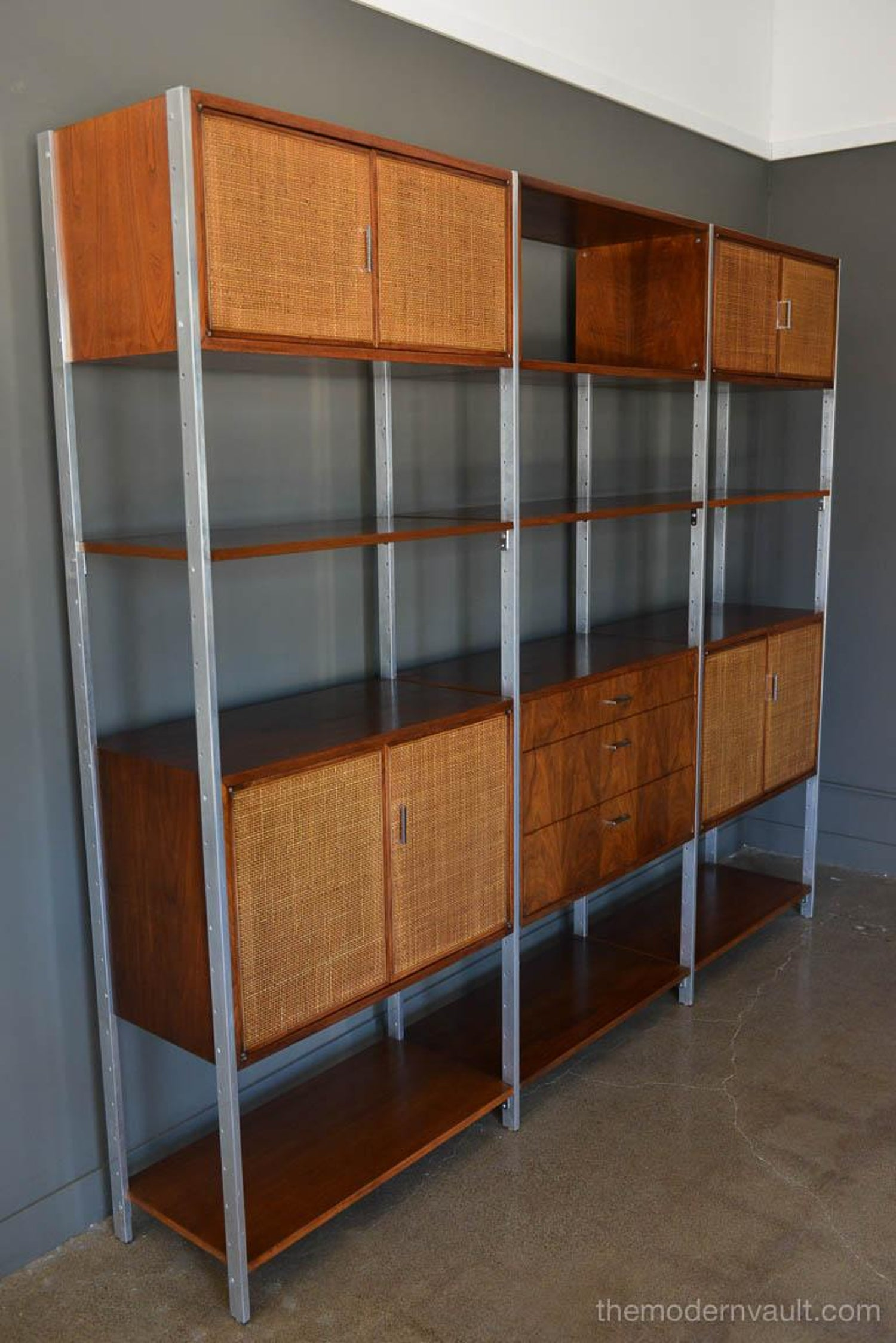 Walnut, Cane And Aluminum Wall Unit Or Room Divider By