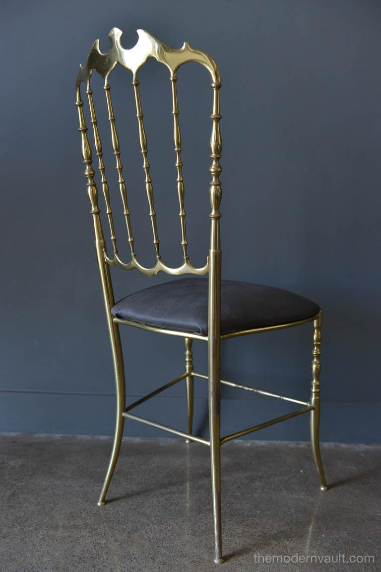 Hollywood Regency Italian Brass Chiavari Chair, circa 1950 For Sale