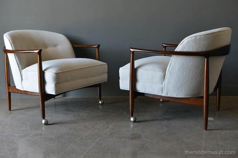 Danish Finn Andersen for Selig Denmark Sculpted Barrel Back Lounge Chairs, circa 1960 For Sale
