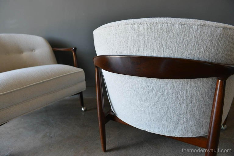 Brushed Finn Andersen for Selig Denmark Sculpted Barrel Back Lounge Chairs, circa 1960 For Sale