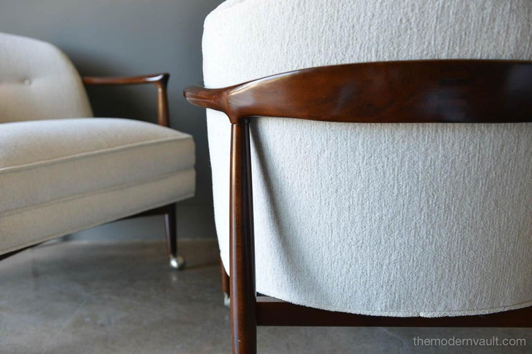 Mid-20th Century Finn Andersen for Selig Denmark Sculpted Barrel Back Lounge Chairs, circa 1960 For Sale