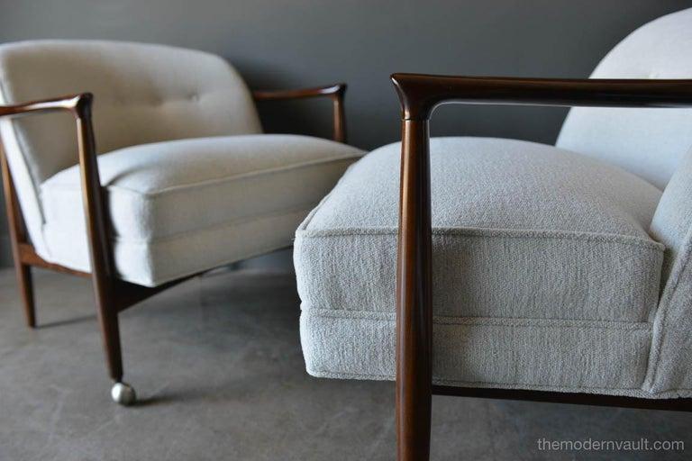 Linen Finn Andersen for Selig Denmark Sculpted Barrel Back Lounge Chairs, circa 1960 For Sale