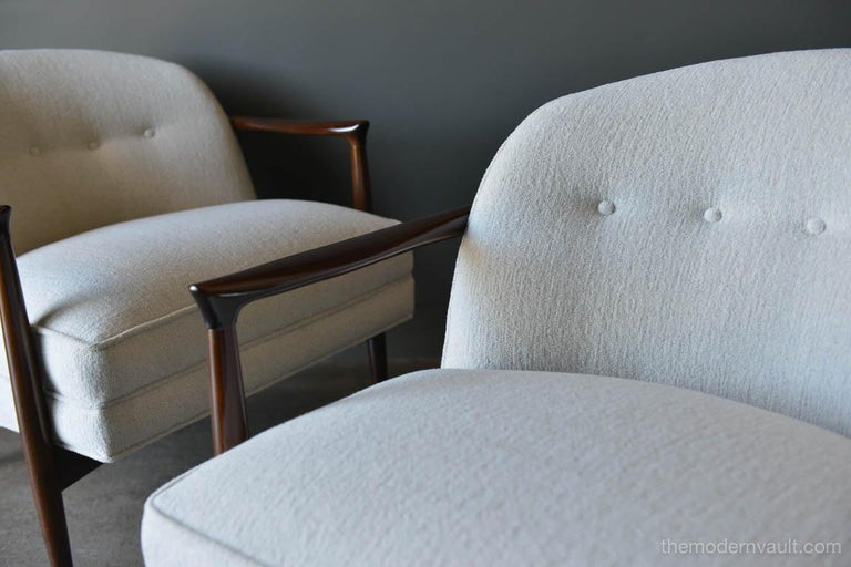 Finn Andersen for Selig Denmark Sculpted Barrel Back Lounge Chairs, circa 1960 For Sale 1