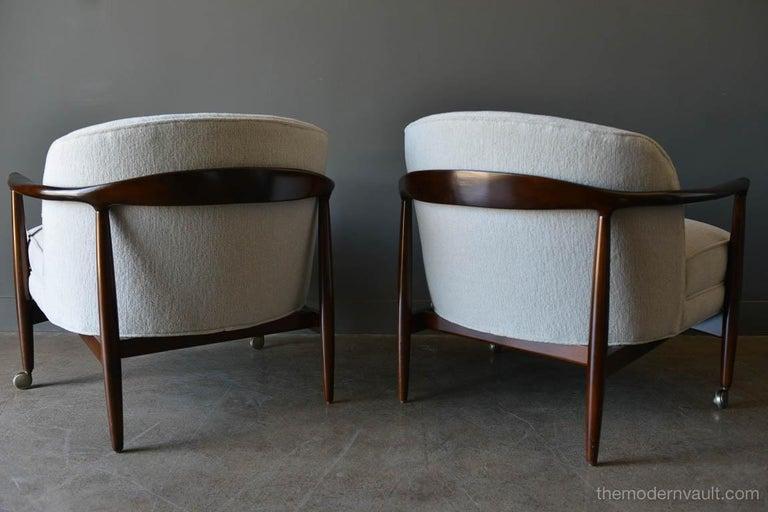 Finn Andersen for Selig Denmark Sculpted Barrel Back Lounge Chairs, circa 1960 For Sale 3
