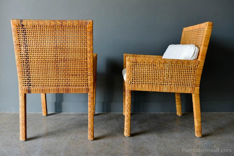American Pair of Cane Wrapped Armchairs in the Style of Billy Baldwin, circa 1970 For Sale