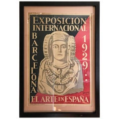 Original World's Fair Poster from Barcelona, 1929 by Oleg Junyent
