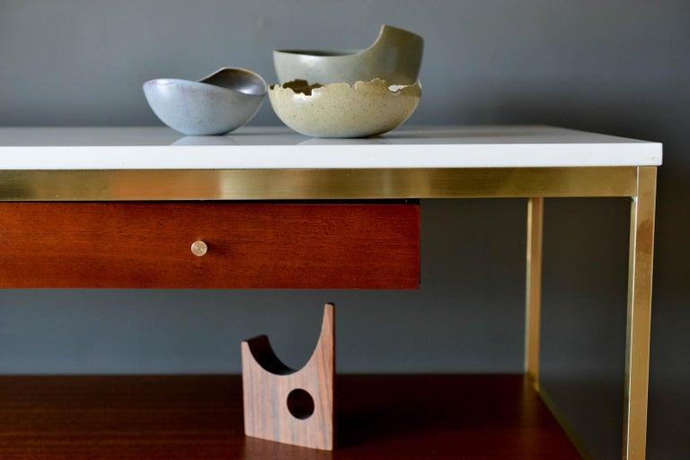 Paul McCobb Brass, Mahogany and Vitrolite Glass Console Table, circa 1955 For Sale 5