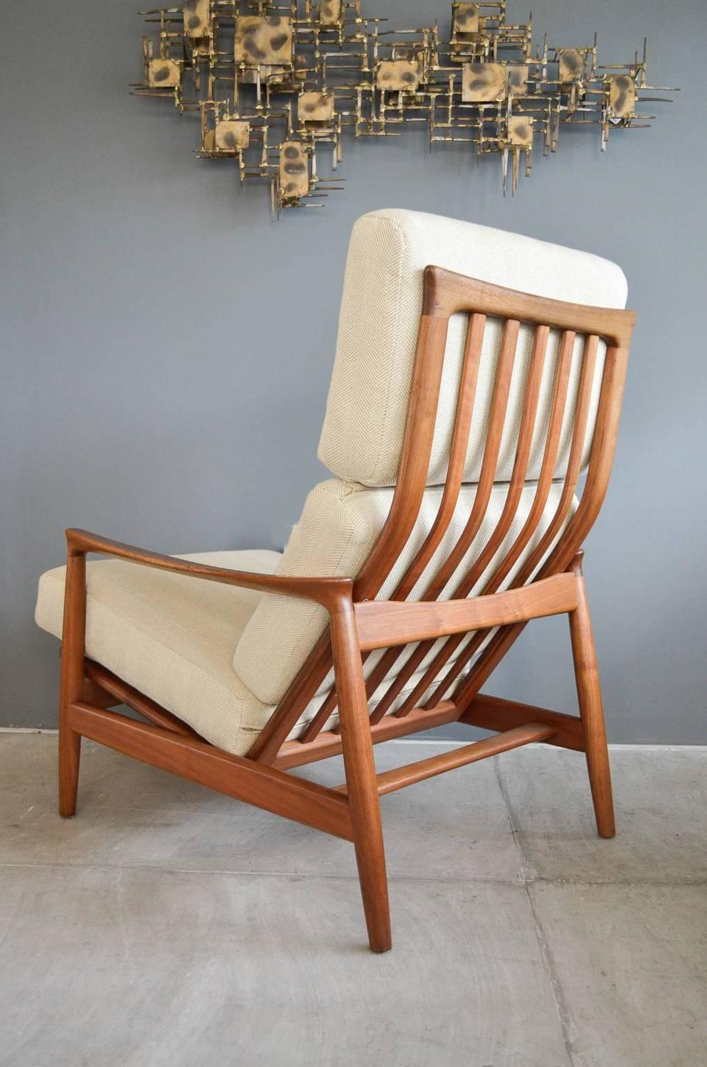 Folke Ohlsson for DUX Walnut Lounge Chair with Ottoman For Sale at 1stdibs