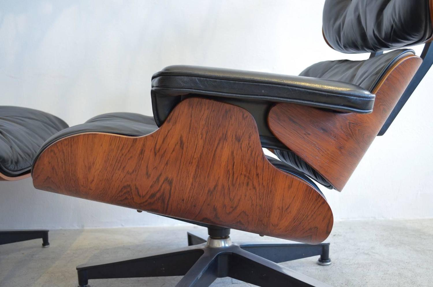 Eames for Herman Miller Rosewood Lounge Chair and Ottoman at 1stdibs