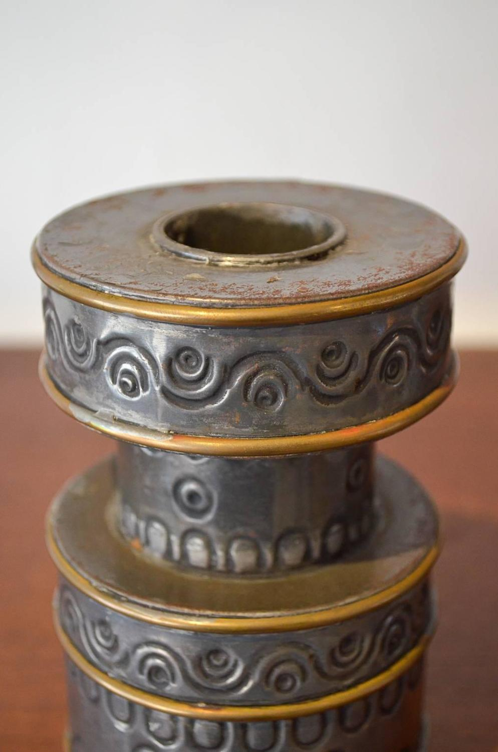 Pair Of Hand Hammered Candle Holders By Gene Byron At 1stdibs