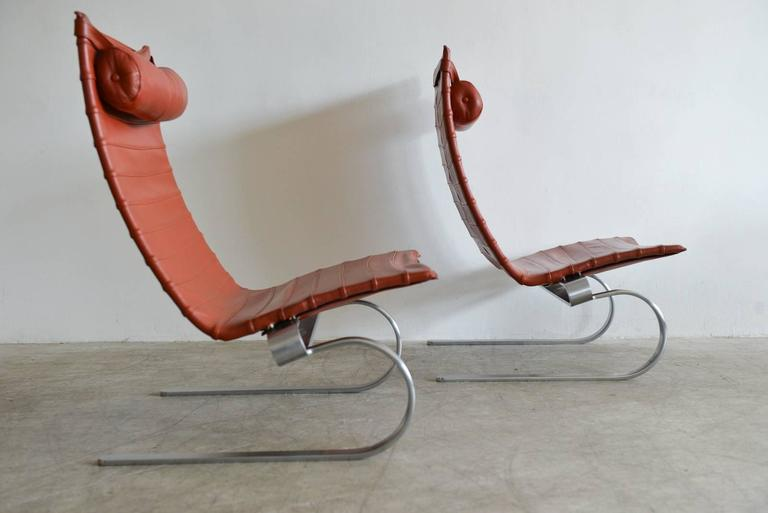Danish Pair of Poul Kjærholm PK20 Leather Lounge Chairs For Sale